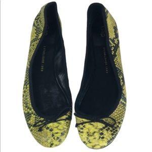 GAP Shoes Ballet Flat Yellow Snakeskin Print 9